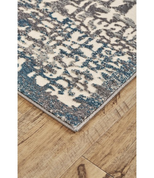 Feizy AKHARI 3677F IN GRAY/TURQUOISE 5' x 8' Area Rug