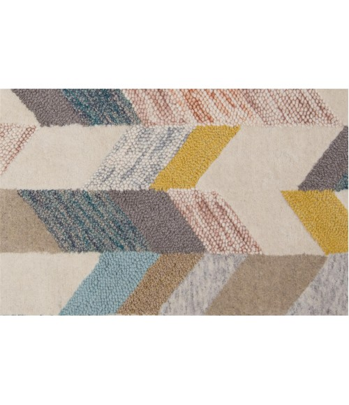 Feizy ARAZAD 8446F IN GRAY/GOLD 8' x 8' Round Area Rug