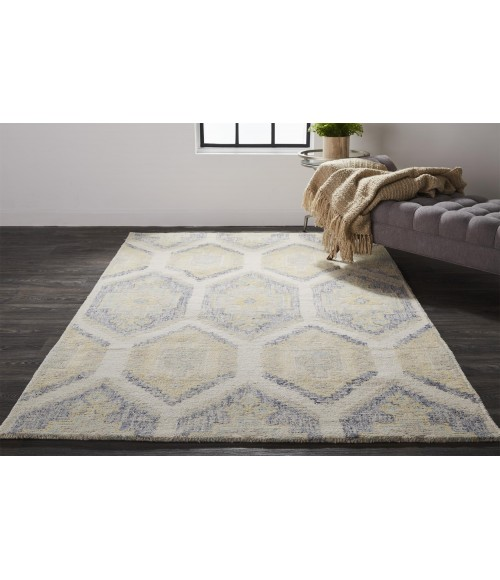 Feizy ARAZAD 8511F IN GRAY/YELLOW 2' x 3' Sample Area Rug