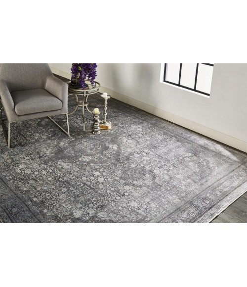 """Feizy SARRANT 3967F IN CHARCOAL 2' 8"""" X 10' Runner Area Rug"""