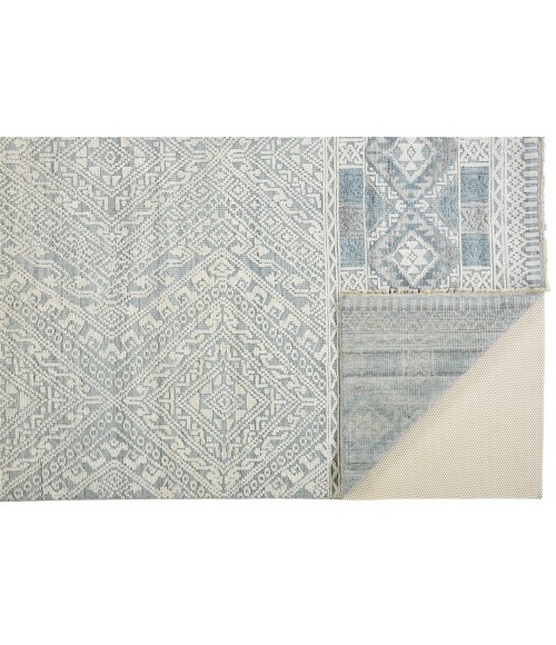 """Feizy PAYTON 6495F IN GRAY/BLUE 7' 9"""" x 9' 9"""" Area Rug"""