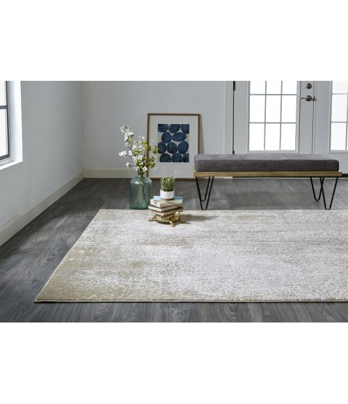 """Feizy AURA 3739F IN IVORY/GOLD 10' X 13' 2"""" Area Rug"""