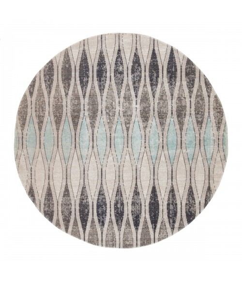 Jaipur Living Norwich Indoor/ Outdoor Geometric Gray/ Blue Round Area Rug (8 X8 )