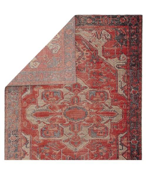 Jaipur Living Leighton Indoor/ Outdoor Medallion Red/ Blue Round Area Rug (6 X6 )