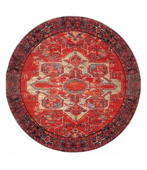 Jaipur Living Leighton Indoor/ Outdoor Medallion Red/ Blue Round Area Rug (8 X8 )