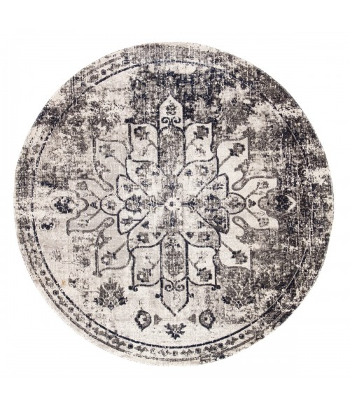 Jaipur Living Isolde Indoor/ Outdoor Medallion Gray/ Ivory Round Area Rug (8 X8 )