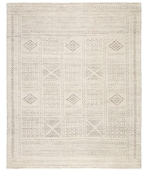 Jaipur Living Jadene Hand-Knotted Geometric White/ Light Gray Area Rug (5 X8 )