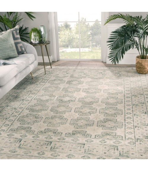 Jaipur Living Stage Hand-Knotted Border Ivory/ Green Area Rug (6 X9 )