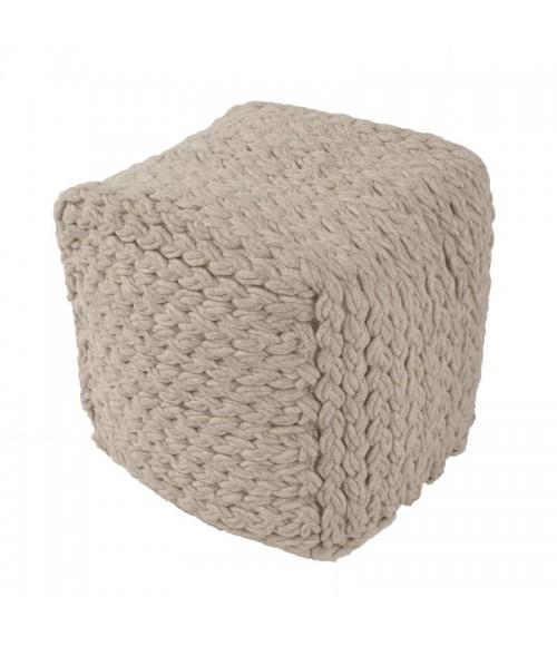 Jaipur Grey Wool Living Scandinavia Pouf Scan03 Scp14 Moonbeam 16   x 16   x 16   Cube Rug