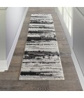 Nourison Textured Contemporary Runner Area Rug TEC02-Ivory/Charcoal