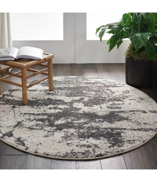 Nourison Maxell Round Area Rug MAE07-Ivory/Grey