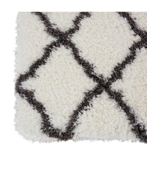 Nourison Ultra Plush Shag Area Rug ULP02-Ivory/Charcoal